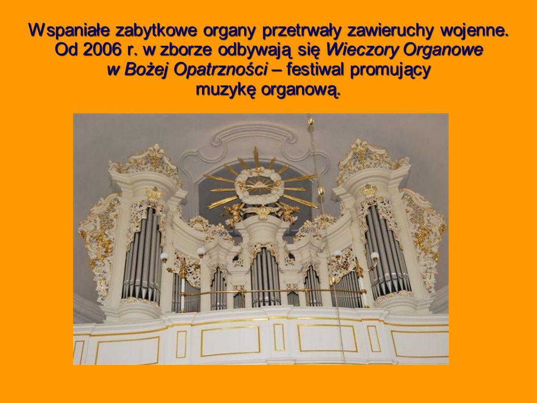 Wspaniałe zabytkowe organy przetrwały zawieruchy wojenne. Od 2006 r. w zborze odbywają się Wieczory Organowe w Bożej Opatrzności – festiwal promujący