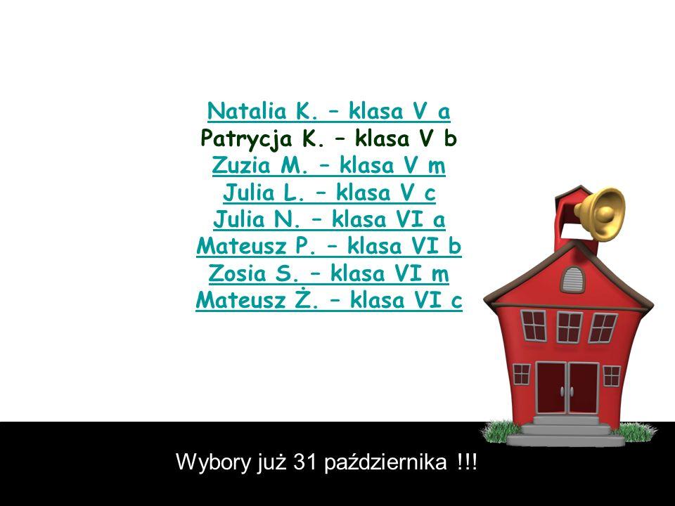 Natalia K. – klasa V a Natalia K. – klasa V a Patrycja K. – klasa V b Zuzia M. – klasa V m Julia L. – klasa V c Julia N. – klasa VI a Mateusz P. – kla