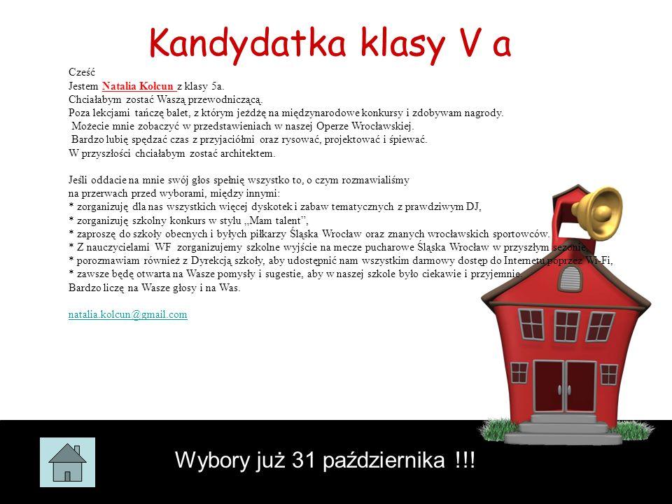 Kandydatka klasy V a Wybory już 31 października !!! Cześć Jestem Natalia Kołcun z klasy 5a. Chciałabym zostać Waszą przewodniczącą. Poza lekcjami tańc