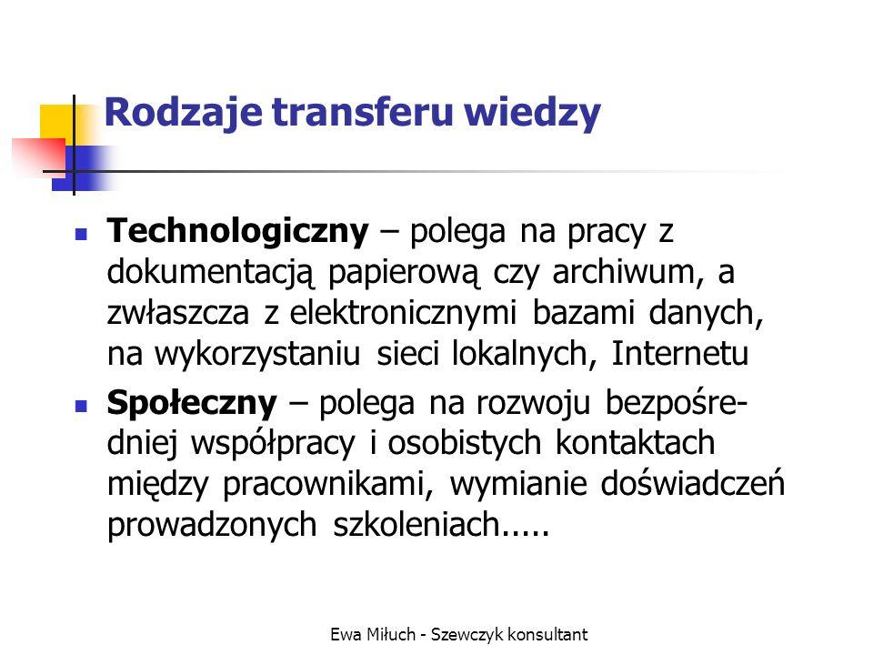 Ewa Miłuch - Szewczyk konsultant Rodzaje transferu wiedzy Technologiczny – polega na pracy z dokumentacją papierową czy archiwum, a zwłaszcza z elektronicznymi bazami danych, na wykorzystaniu sieci lokalnych, Internetu Społeczny – polega na rozwoju bezpośre- dniej współpracy i osobistych kontaktach między pracownikami, wymianie doświadczeń prowadzonych szkoleniach.....