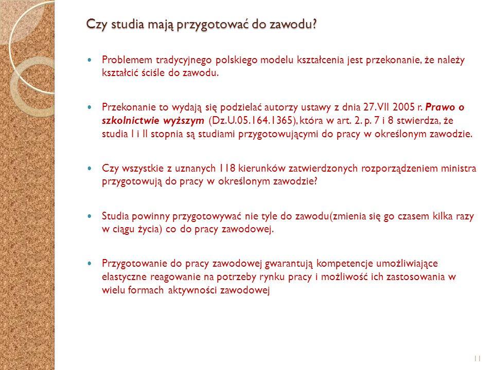 Czy studia mają przygotować do zawodu? Problemem tradycyjnego polskiego modelu kształcenia jest przekonanie, że należy kształcić ściśle do zawodu. Prz