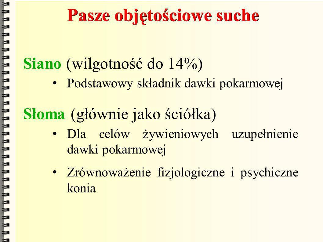 Pasze objętościowe suche Siano (wilgotność do 14%) Podstawowy składnik dawki pokarmowej Słoma (głównie jako ściółka) Dla celów żywieniowych uzupełnien