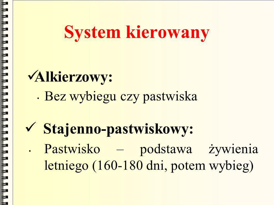 System kierowany Alkierzowy: Bez wybiegu czy pastwiska Stajenno-pastwiskowy: Pastwisko – podstawa żywienia letniego (160-180 dni, potem wybieg)