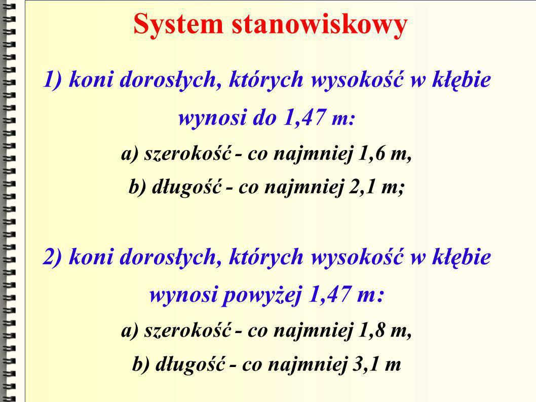System stanowiskowy 1) koni dorosłych, których wysokość w kłębie wynosi do 1,47 m: a) szerokość - co najmniej 1,6 m, b) długość - co najmniej 2,1 m; 2