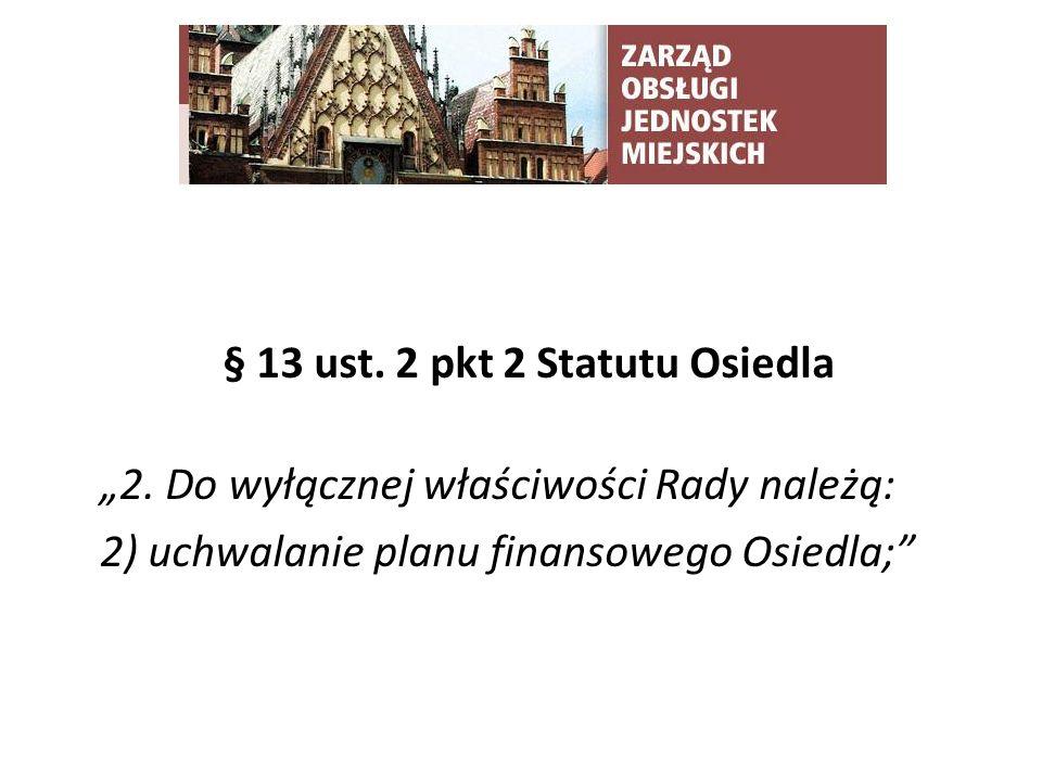 TYTUŁ SLAJDU § 13 ust. 2 pkt 2 Statutu Osiedla 2.