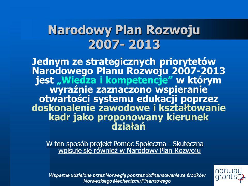 Wsparcie udzielone przez Norwegię poprzez dofinansowanie ze środków Norweskiego Mechanizmu Finansowego Narodowy Plan Rozwoju 2007- 2013 Jednym ze strategicznych priorytetów Narodowego Planu Rozwoju 2007-2013 jest Wiedza i kompetencje w którym wyraźnie zaznaczono wspieranie otwartości systemu edukacji poprzez doskonalenie zawodowe i kształtowanie kadr jako proponowany kierunek działań W ten sposób projekt Pomoc Społeczna - Skuteczna wpisuje się również w Narodowy Plan Rozwoju