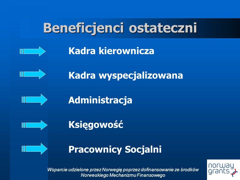 Wsparcie udzielone przez Norwegię poprzez dofinansowanie ze środków Norweskiego Mechanizmu Finansowego Beneficjenci ostateczni Kadra kierownicza Kadra wyspecjalizowana Administracja Księgowość Pracownicy Socjalni