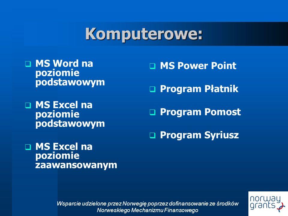 Wsparcie udzielone przez Norwegię poprzez dofinansowanie ze środków Norweskiego Mechanizmu Finansowego Komputerowe: MS Word na poziomie podstawowym MS Excel na poziomie podstawowym MS Excel na poziomie zaawansowanym MS Power Point Program Płatnik Program Pomost Program Syriusz