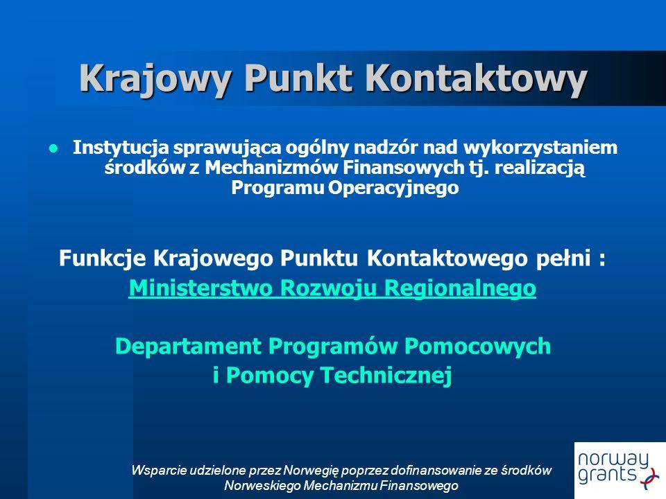 Wsparcie udzielone przez Norwegię poprzez dofinansowanie ze środków Norweskiego Mechanizmu Finansowego Krajowy Punkt Kontaktowy Instytucja sprawująca ogólny nadzór nad wykorzystaniem środków z Mechanizmów Finansowych tj.