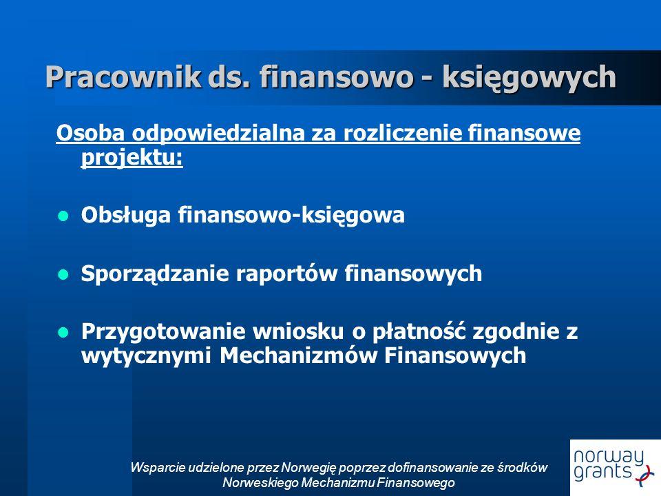 Wsparcie udzielone przez Norwegię poprzez dofinansowanie ze środków Norweskiego Mechanizmu Finansowego Pracownik ds.