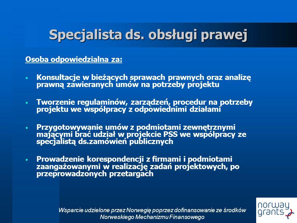 Wsparcie udzielone przez Norwegię poprzez dofinansowanie ze środków Norweskiego Mechanizmu Finansowego Specjalista ds.