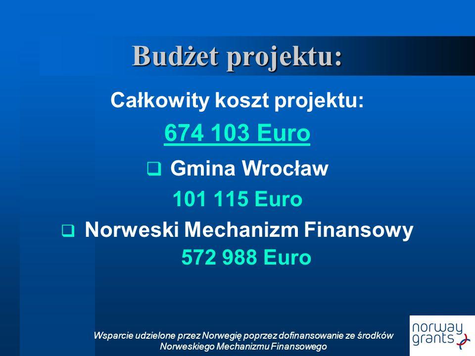 Budżet projektu: Całkowity koszt projektu: 674 103 Euro Gmina Wrocław 101 115 Euro Norweski Mechanizm Finansowy 572 988 Euro