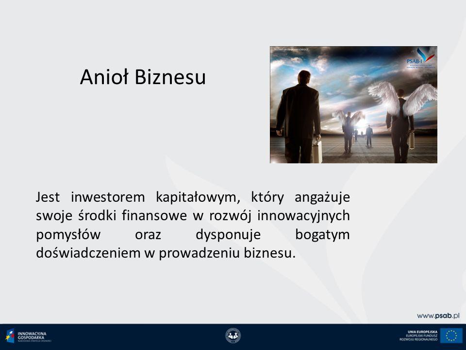 Anioł Biznesu Jest inwestorem kapitałowym, który angażuje swoje środki finansowe w rozwój innowacyjnych pomysłów oraz dysponuje bogatym doświadczeniem w prowadzeniu biznesu.