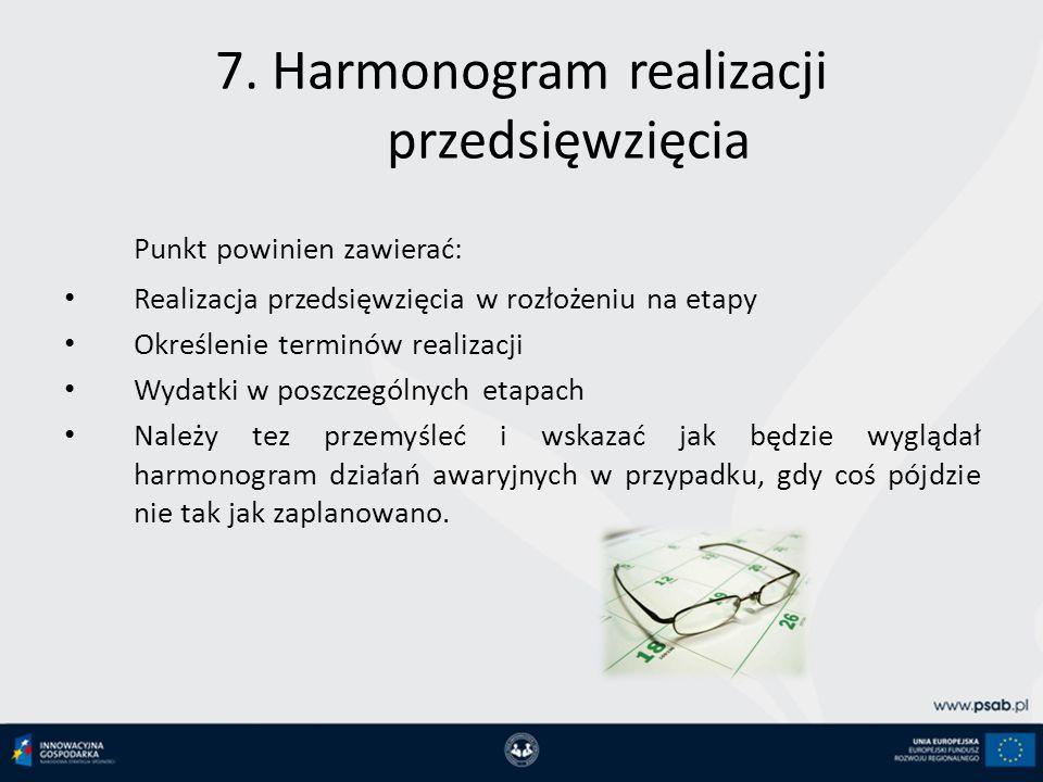7. Harmonogram realizacji przedsięwzięcia Punkt powinien zawierać: Realizacja przedsięwzięcia w rozłożeniu na etapy Określenie terminów realizacji Wyd
