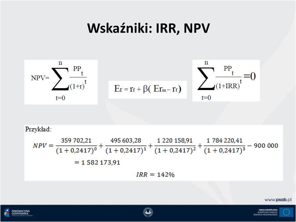 Wskaźniki: IRR, NPV
