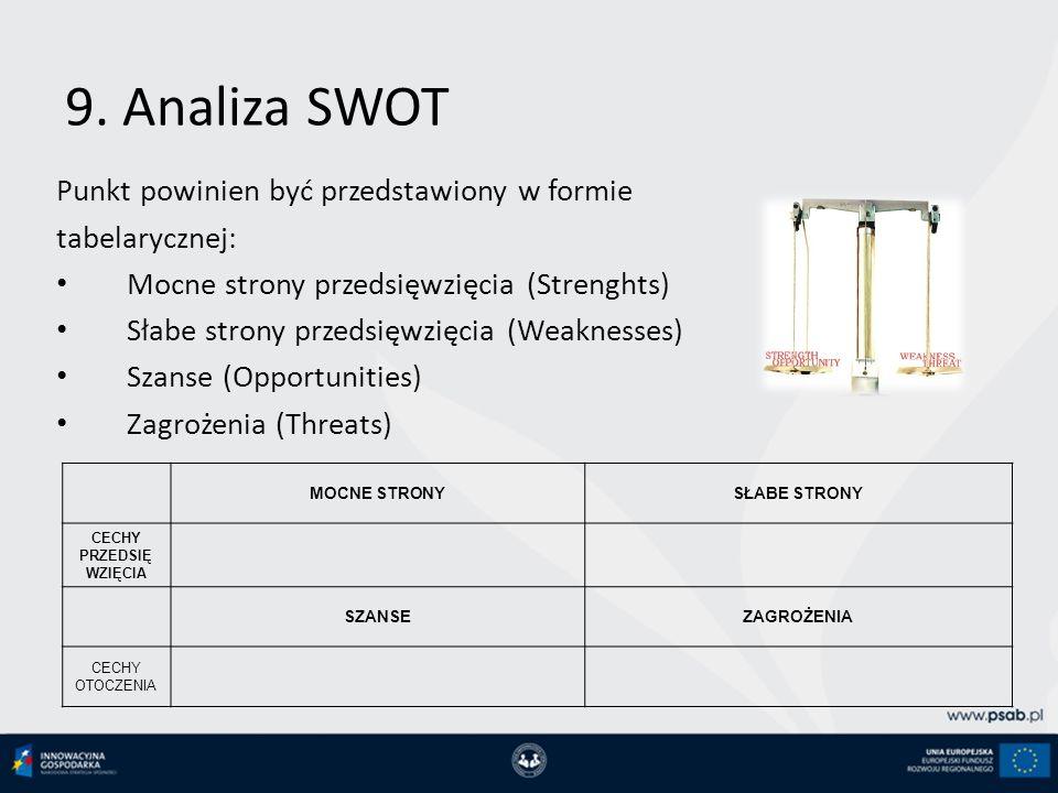 9. Analiza SWOT Punkt powinien być przedstawiony w formie tabelarycznej: Mocne strony przedsięwzięcia (Strenghts) Słabe strony przedsięwzięcia (Weakne