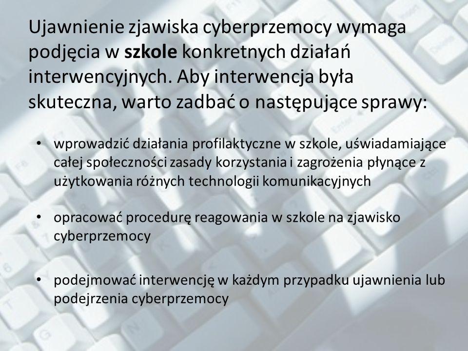 Ujawnienie zjawiska cyberprzemocy wymaga podjęcia w szkole konkretnych działań interwencyjnych.