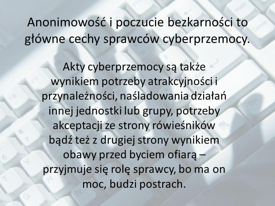 Anonimowość i poczucie bezkarności to główne cechy sprawców cyberprzemocy.