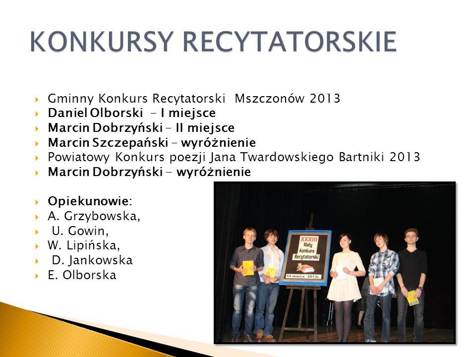 Gminny Konkurs Teatralny Nagroda dla Teatru II Piętro XXVI Powiatowy Konkurs Miniatur Teatralnych Nagroda Główna dla Teatru II Piętro OPIEKUN: Julitta Sander