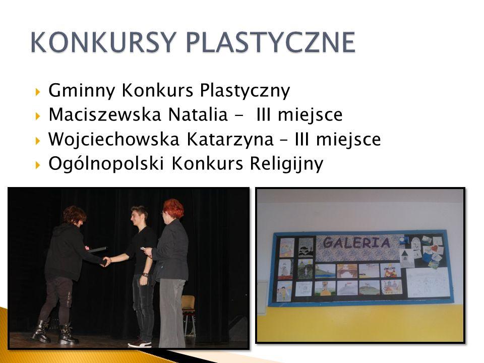 Gminny Konkurs Plastyczny Maciszewska Natalia - III miejsce Wojciechowska Katarzyna – III miejsce Ogólnopolski Konkurs Religijny