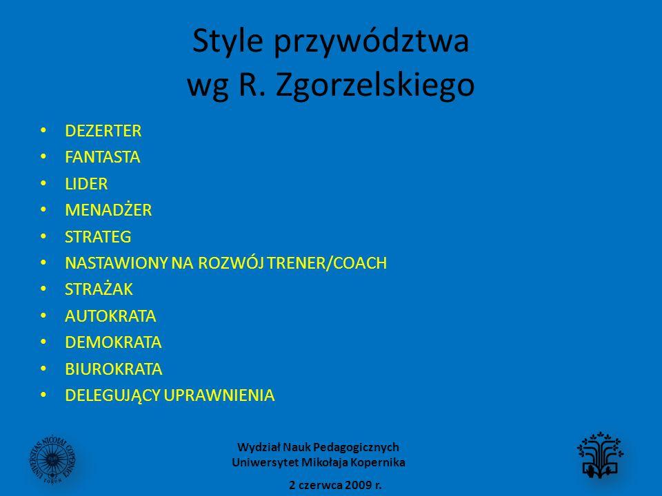 Style przywództwa wg R. Zgorzelskiego DEZERTER FANTASTA LIDER MENADŻER STRATEG NASTAWIONY NA ROZWÓJ TRENER/COACH STRAŻAK AUTOKRATA DEMOKRATA BIUROKRAT