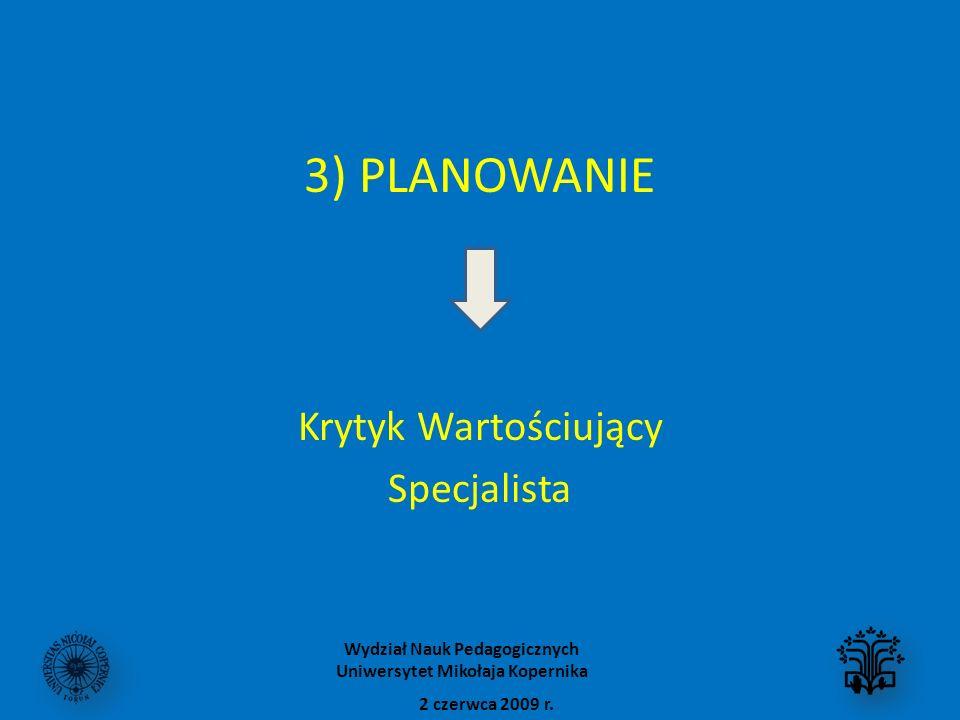 3) PLANOWANIE Krytyk Wartościujący Specjalista 2 czerwca 2009 r. Wydział Nauk Pedagogicznych Uniwersytet Mikołaja Kopernika