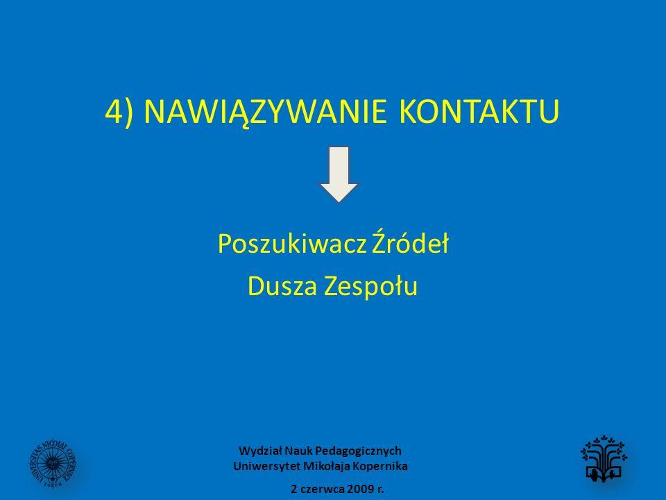 4) NAWIĄZYWANIE KONTAKTU Poszukiwacz Źródeł Dusza Zespołu 2 czerwca 2009 r. Wydział Nauk Pedagogicznych Uniwersytet Mikołaja Kopernika