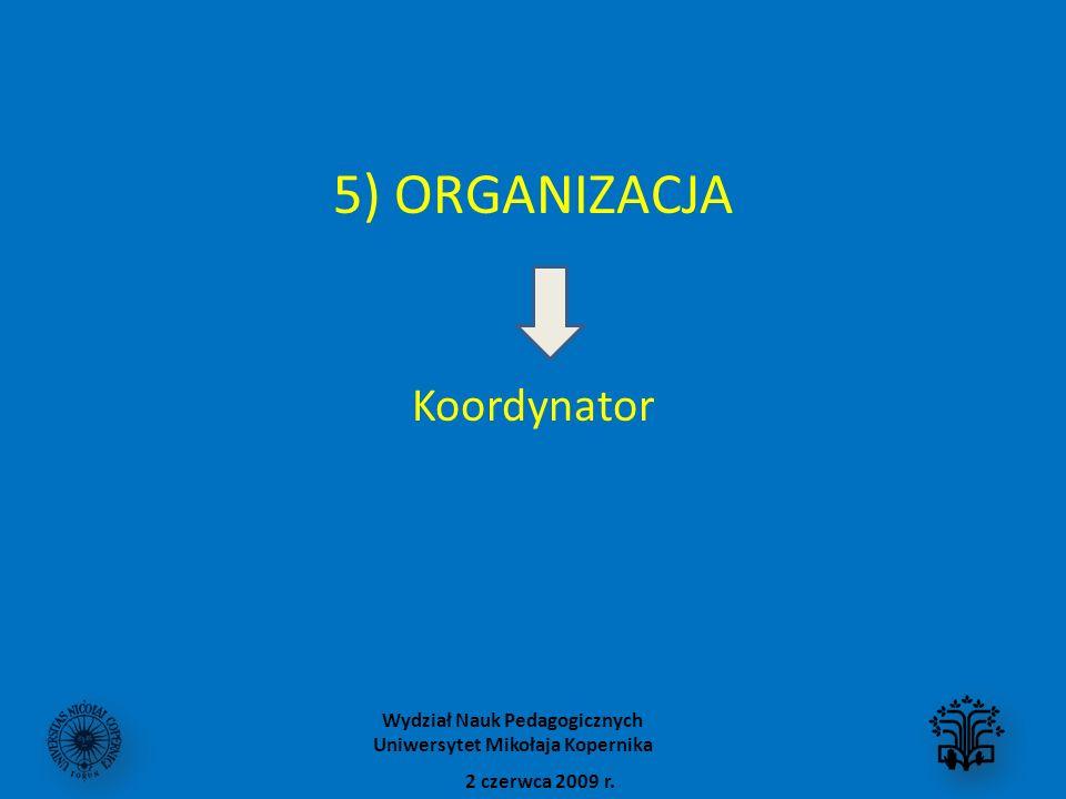 5) ORGANIZACJA Koordynator 2 czerwca 2009 r. Wydział Nauk Pedagogicznych Uniwersytet Mikołaja Kopernika
