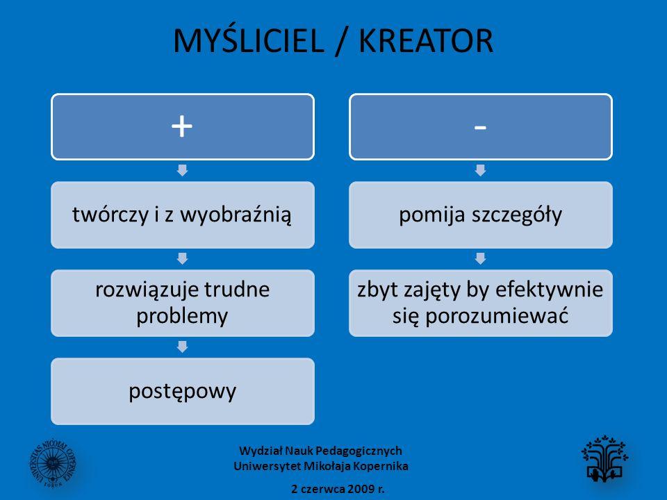 MYŚLICIEL / KREATOR + twórczy i z wyobraźnią rozwiązuje trudne problemy postępowy - pomija szczegóły zbyt zajęty by efektywnie się porozumiewać 2 czer