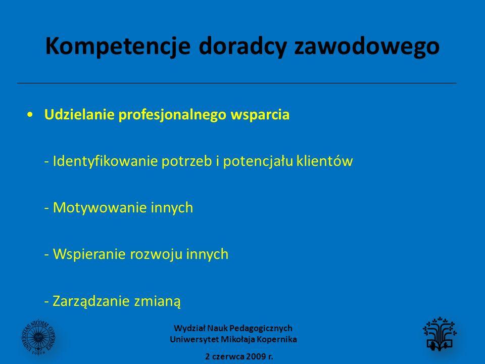 Kompetencje doradcy zawodowego Udzielanie profesjonalnego wsparcia - Identyfikowanie potrzeb i potencjału klientów - Motywowanie innych - Wspieranie rozwoju innych - Zarządzanie zmianą 2 czerwca 2009 r.