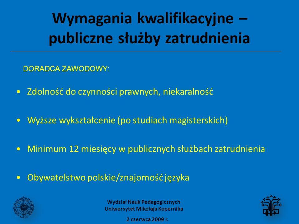 Wymagania kwalifikacyjne – publiczne służby zatrudnienia Zdolność do czynności prawnych, niekaralność Wyższe wykształcenie (po studiach magisterskich) Minimum 12 miesięcy w publicznych służbach zatrudnienia Obywatelstwo polskie/znajomość języka 2 czerwca 2009 r.