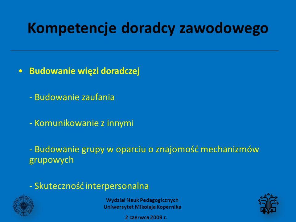 Kompetencje doradcy zawodowego Budowanie więzi doradczej - Budowanie zaufania - Komunikowanie z innymi - Budowanie grupy w oparciu o znajomość mechanizmów grupowych - Skuteczność interpersonalna 2 czerwca 2009 r.