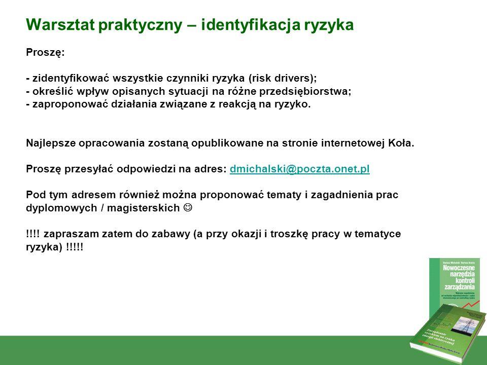 3 Warsztat praktyczny – identyfikacja ryzyka Proszę: - zidentyfikować wszystkie czynniki ryzyka (risk drivers); - określić wpływ opisanych sytuacji na