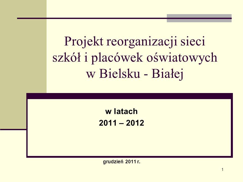 Projekt reorganizacji sieci szkół i placówek oświatowych w Bielsku - Białej w latach 2011 – 2012 grudzień 2011 r. 1
