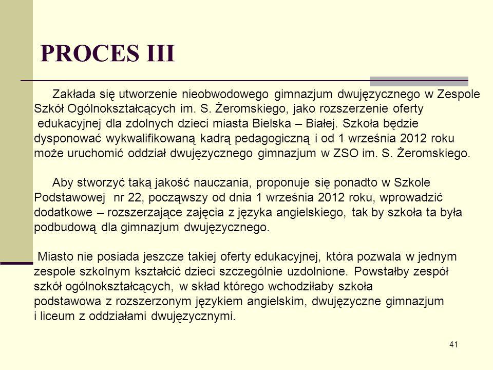 PROCES III Zakłada się utworzenie nieobwodowego gimnazjum dwujęzycznego w Zespole Szkół Ogólnokształcących im. S. Żeromskiego, jako rozszerzenie ofert