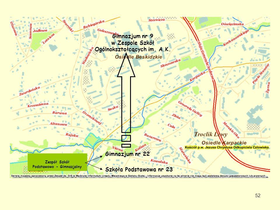 Zespół Szkół Podstawowo - Gimnazjalny Szkoła Podstawowa nr 23 Gimnazjum nr 22 Gimnazjum nr 9 w Zespole Szkół Ogólnokształcących im. A.K. 52
