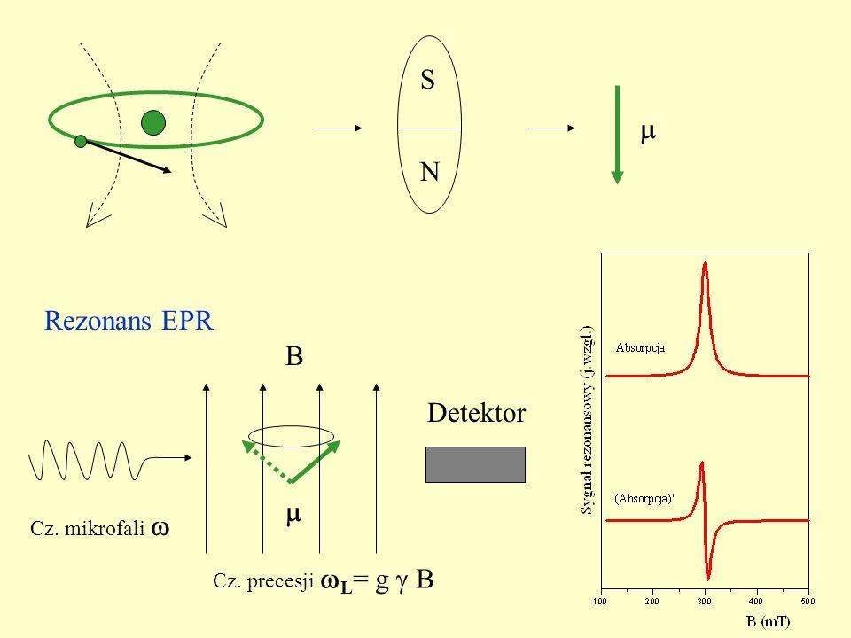 Rezonans EPR N S Detektor Cz. mikrofali Cz. precesji L = g B B