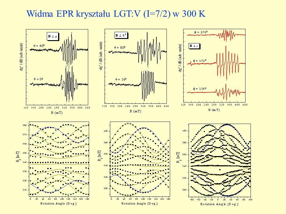 Widma EPR kryształu LGT:V (I=7/2) w 300 K