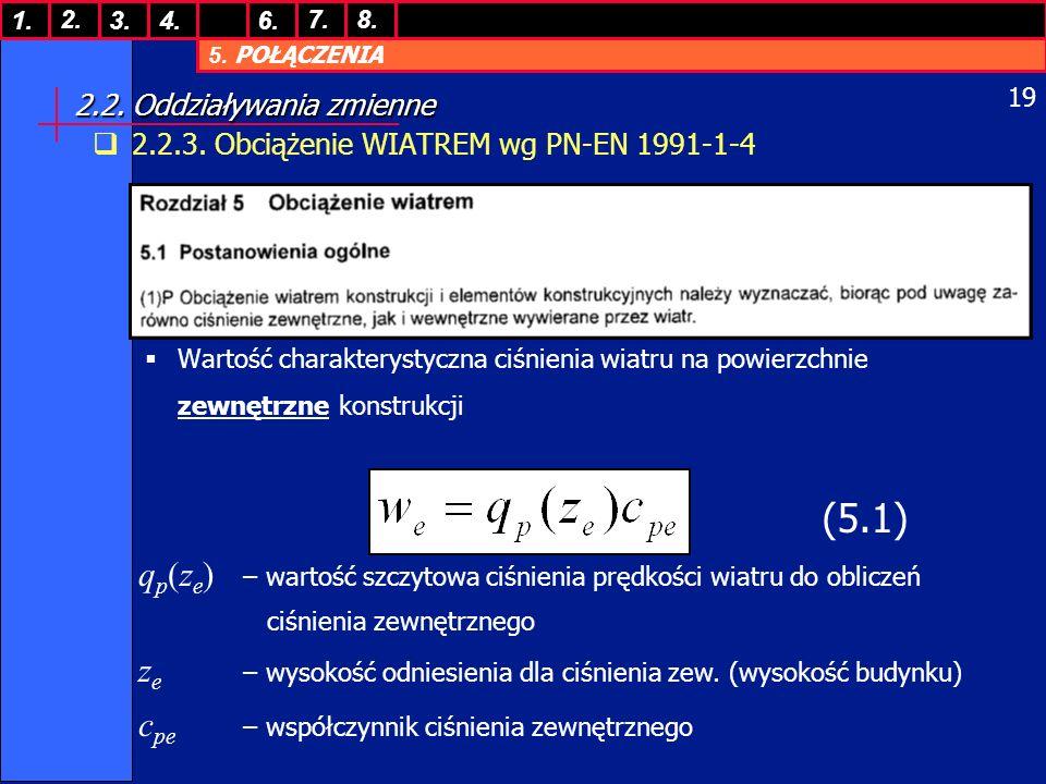 5. POŁĄCZENIA 1. 7. 3.4.6. 8.2. 19 2.2. Oddziaływania zmienne 2.2.3. Obciążenie WIATREM wg PN-EN 1991-1-4 Wartość charakterystyczna ciśnienia wiatru n