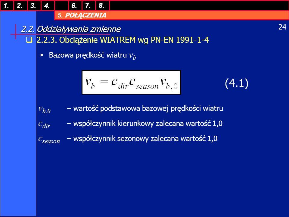 5. POŁĄCZENIA 1. 7. 3.4.6. 8.2. 24 2.2. Oddziaływania zmienne 2.2.3. Obciążenie WIATREM wg PN-EN 1991-1-4 Bazowa prędkość wiatru v b (4.1) v b,0 – war