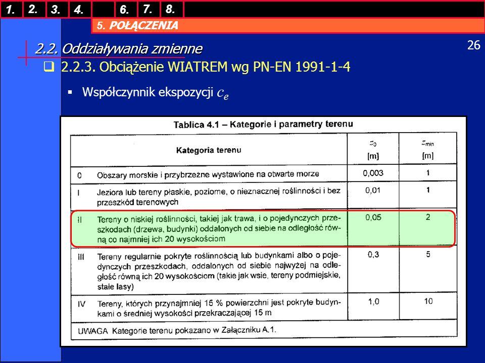 5. POŁĄCZENIA 1. 7. 3.4.6. 8.2. 26 2.2. Oddziaływania zmienne 2.2.3. Obciążenie WIATREM wg PN-EN 1991-1-4 Współczynnik ekspozycji c e