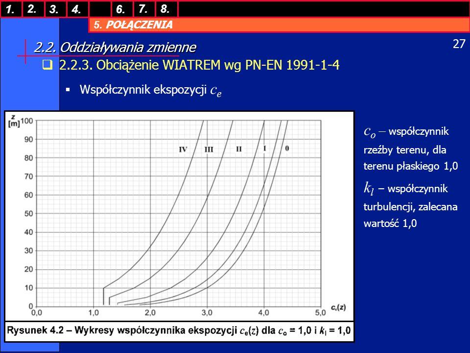 5. POŁĄCZENIA 1. 7. 3.4.6. 8.2. 27 2.2. Oddziaływania zmienne 2.2.3. Obciążenie WIATREM wg PN-EN 1991-1-4 Współczynnik ekspozycji c e c o – współczynn