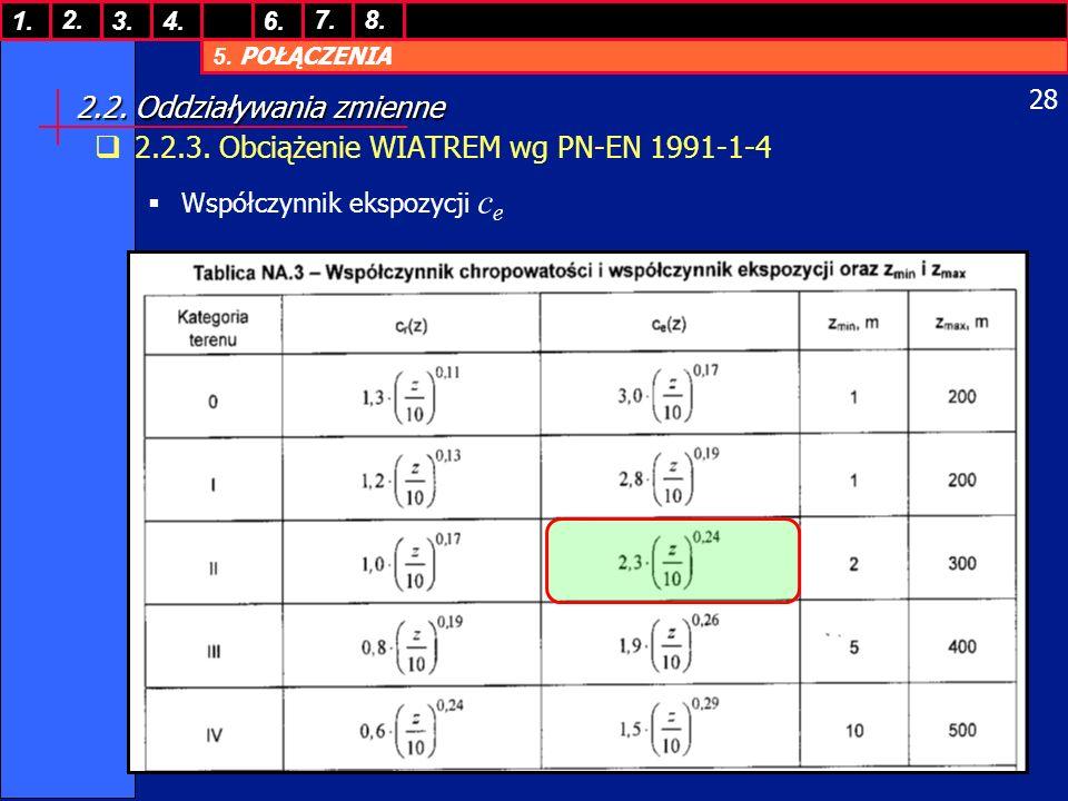 5. POŁĄCZENIA 1. 7. 3.4.6. 8.2. 28 2.2. Oddziaływania zmienne 2.2.3. Obciążenie WIATREM wg PN-EN 1991-1-4 Współczynnik ekspozycji c e