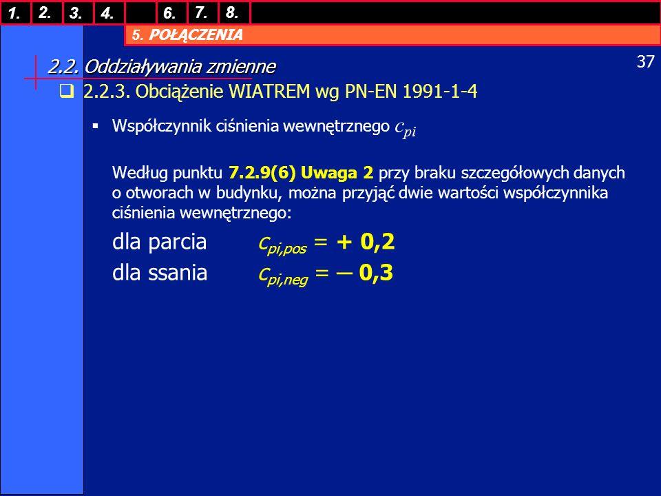 5. POŁĄCZENIA 1. 7. 3.4.6. 8.2. 37 2.2. Oddziaływania zmienne 2.2.3. Obciążenie WIATREM wg PN-EN 1991-1-4 Współczynnik ciśnienia wewnętrznego c pi Wed