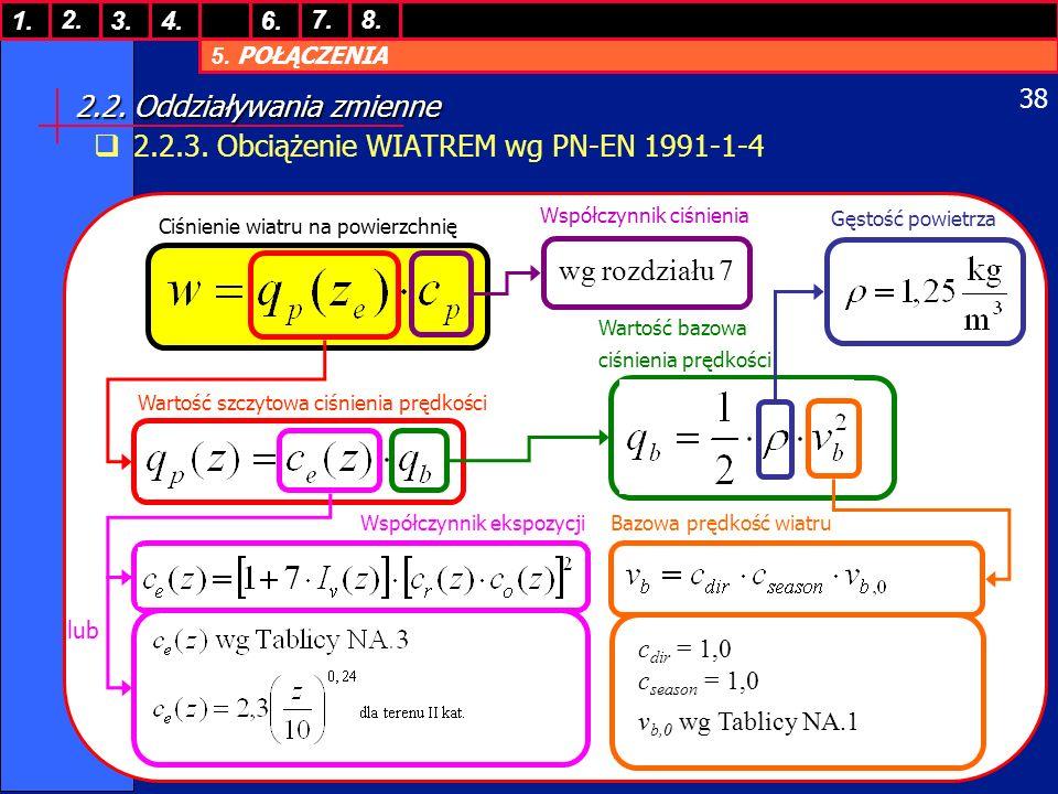 5. POŁĄCZENIA 1. 7. 3.4.6. 8.2. 38 2.2. Oddziaływania zmienne 2.2.3. Obciążenie WIATREM wg PN-EN 1991-1-4 lub c dir = 1,0 c season = 1,0 v b,0 wg Tabl