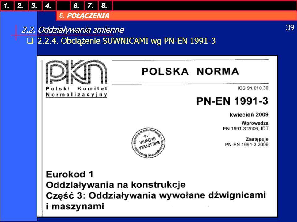 5. POŁĄCZENIA 1. 7. 3.4.6. 8.2. 39 2.2. Oddziaływania zmienne 2.2.4. Obciążenie SUWNICAMI wg PN-EN 1991-3