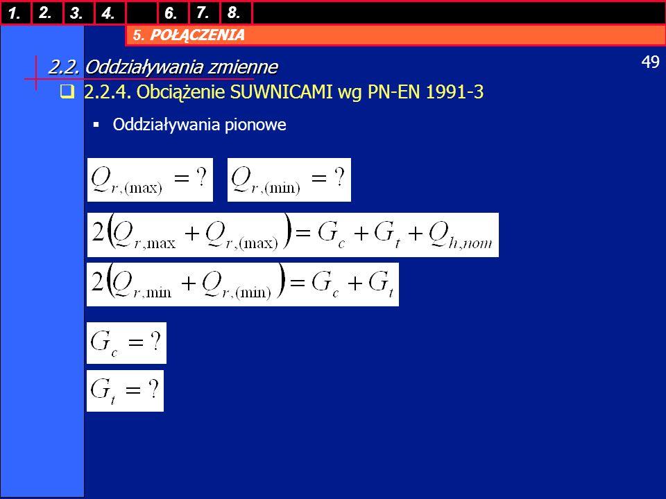 5. POŁĄCZENIA 1. 7. 3.4.6. 8.2. 49 2.2. Oddziaływania zmienne 2.2.4. Obciążenie SUWNICAMI wg PN-EN 1991-3 Oddziaływania pionowe