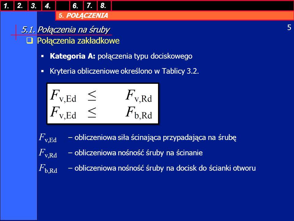 5. POŁĄCZENIA 1. 7. 3.4.6. 8.2. 5 5.1. Połączenia na śruby Połączenia zakładkowe Kategoria A: połączenia typu dociskowego Kryteria obliczeniowe określ