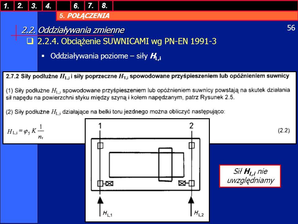 5. POŁĄCZENIA 1. 7. 3.4.6. 8.2. 56 2.2. Oddziaływania zmienne 2.2.4. Obciążenie SUWNICAMI wg PN-EN 1991-3 Oddziaływania poziome – siły H L,i Sił H L,i