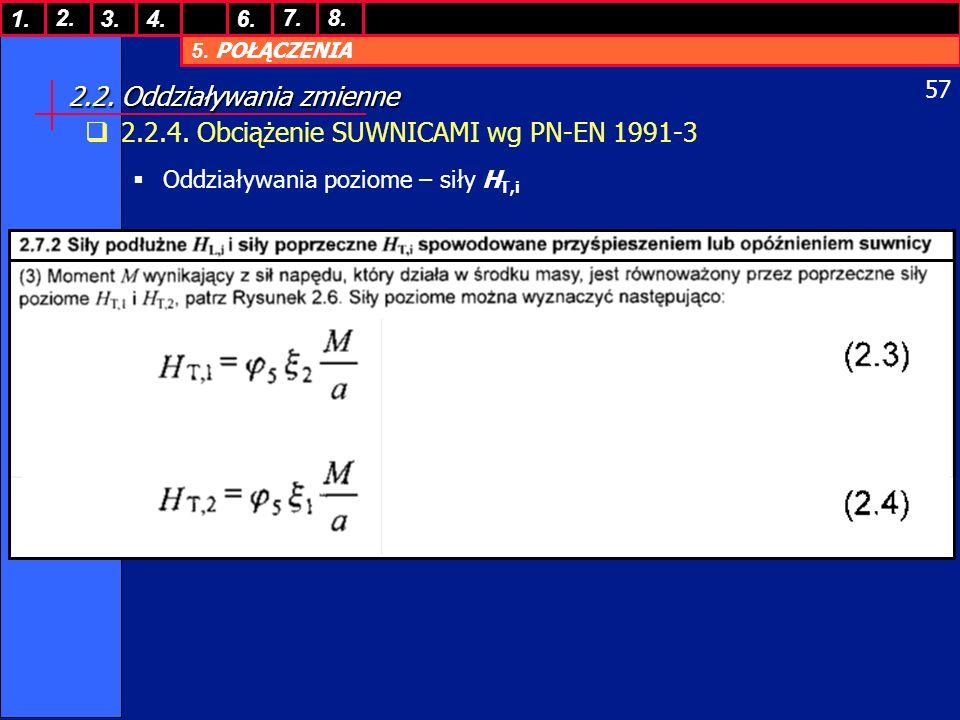 5. POŁĄCZENIA 1. 7. 3.4.6. 8.2. 57 2.2. Oddziaływania zmienne 2.2.4. Obciążenie SUWNICAMI wg PN-EN 1991-3 Oddziaływania poziome – siły H T,i